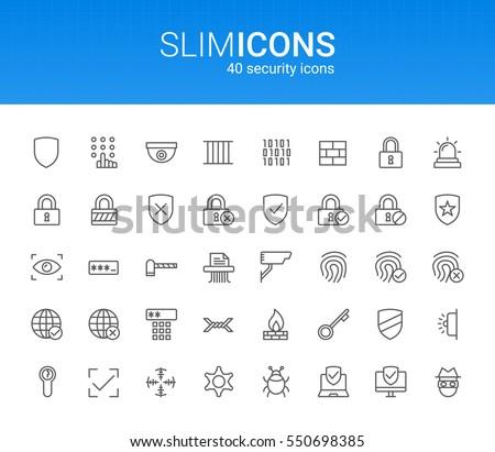 Minimalistic Slim Line Security Vector Icons
