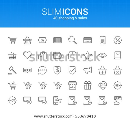 Minimalistic Slim Line Shopping & Sales Vector Icons #550698418