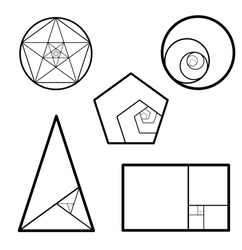 Minimalistic style design. Golden ratio. Geometric shapes.  Circles in golden proportion. Futuristic design.  Logo. Vector icon. Abstract vector background.