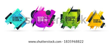 Minimalistic stylish geometry with brush strokes hipster colored frame design. Vector line gradient halftone. frame for text Modern Art graphics. vector illustration stock photo