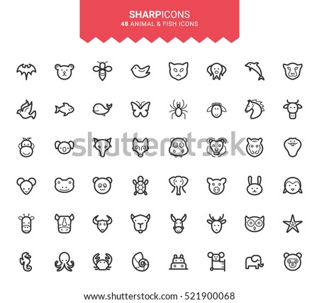 Minimalistic Thin Line Animal & Fish Sharp Vector Icons