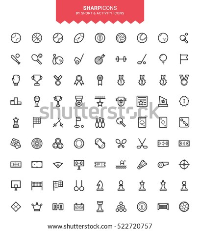 Minimalistic Thin Line Sports Sharp Vector Icons