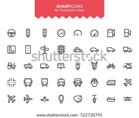 Minimalistic Thin Line Transport Sharp Vector Icons