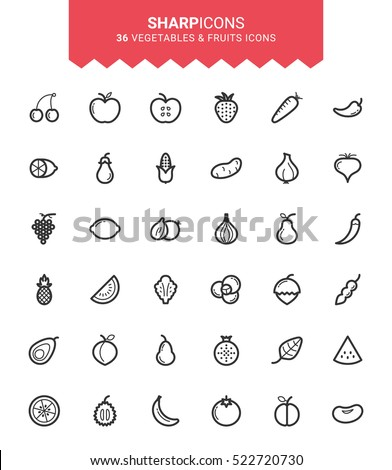 Minimalistic Thin Line Vegetables & Fruits Sharp Vector Icons
