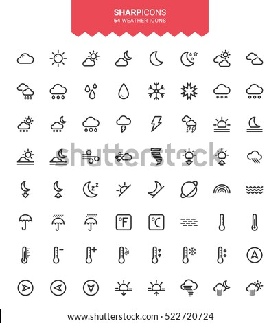 Minimalistic Thin Line Weather Sharp Vector Icons