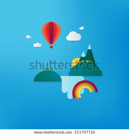 Minimalistic travel vacation landscape with balloon, waterfall and mountains. Material design