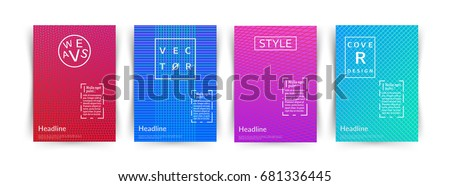 Minimalistic vector illustration of covers design. Line gradients. Set of four future poster template.