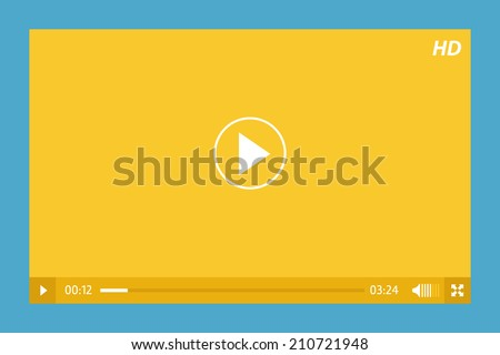 minimalistic video player in yellow and blue
