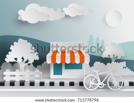 minimart modern supermarket shop front view paper cut in paper cut style
