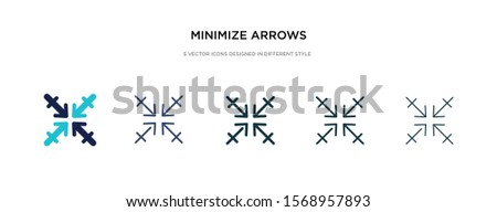 minimize arrows icon in different style vector illustration. two colored and black minimize arrows vector icons designed in filled, outline, line and stroke style can be used for web, mobile, ui