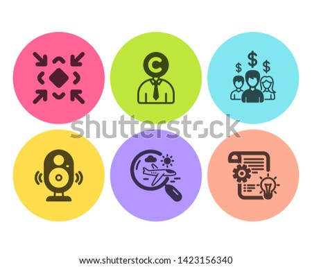 Minimize, Copyrighter and Speaker icons simple set. Salary employees, Search flight and Cogwheel signs. Small screen, Writer person. Flat minimize icon. Circle button. Vector