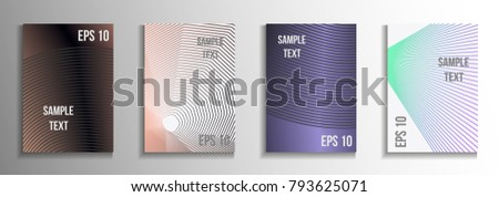 Minimum vector coverage.  A set of rectangular patterns from iridescent lines.  Creative background colors.  Suitable for decorating business brochures, banners, posters.