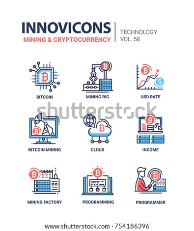 Mining and cryptocurrency - line design icons set. Bitcoin, mining rig, usd rate, cloud, income, factory, programming, programmer. High quality collection of blue, red images with description