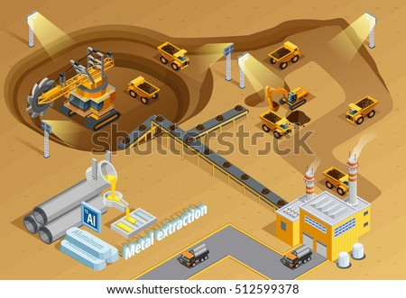Mining and metal extraction background with machinery and equipment symbols isometric vector illustration