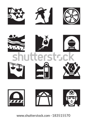 Mining and quarrying industry icon set vector illustration