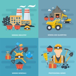 Mining and quarrying industry icon square set, metals and minerals, researching natural resources, professional workers image. Vector flat style cartoon illustration