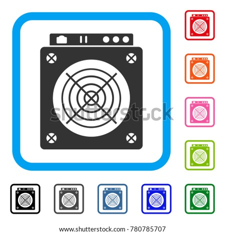 Mining Asic Hardware icon. Flat gray iconic symbol inside a blue rounded frame. Black, gray, green, blue, red, orange color versions of Mining Asic Hardware vector.
