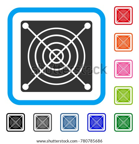 Mining Asic Hardware icon. Flat gray pictogram symbol inside a blue rounded squared frame. Black, gray, green, blue, red, orange color versions of Mining Asic Hardware vector.