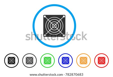 Mining Asic Hardware rounded icon. Style is a flat gray symbol inside light blue circle with additional color versions. Mining Asic Hardware vector designed for web and software interfaces.
