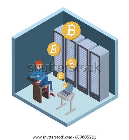 mining bitcoin concept young
