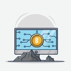 Mining bitcoin on laptop cartoon illustrations