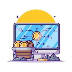 Mining Bitcoin Vector Cartoon Illustration. Cryptocurrency Icon Concept White Isolated. Flat Cartoon Style Suitable for Web Landing Page, Banner, Sticker, and Background
