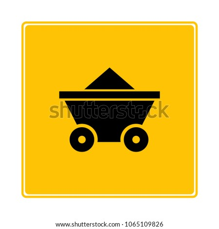 mining cart on yellow background