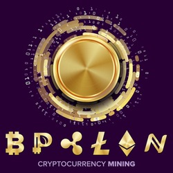 Mining Cryptocurrency Concept Vector. Bitcoin, Litecoin, Ethereum, Ripple, Namecoin, Peercoin. Futuristic Money. Fintech Blockchain. Cryptography, Financial Technology Illustration
