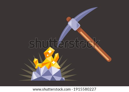 mining for gold underground. find a precious nugget. work with a pickaxe in the mine. flat vector illustration.