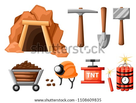 Mining icon set. Cartoon mine entrance, and tools for mining and quarrying. Retro tunnel. Old mine. Flat vector illustration isolated on white background.