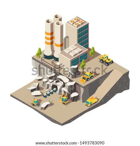 Mining isometric. Rock mine industry production quarry construction technics vector composition