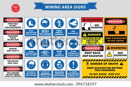 Mining mandatory sign (safety helmet with flashlight must be worn, use handrails, dust mask, breathing apparatus, goggles, hearing protection, fasten seat belts, sound horn)