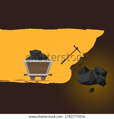 Mining of ore. Flat style vector