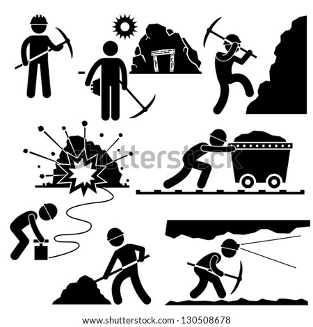 Mining Worker Miner Labor Stick Figure Pictogram Icon