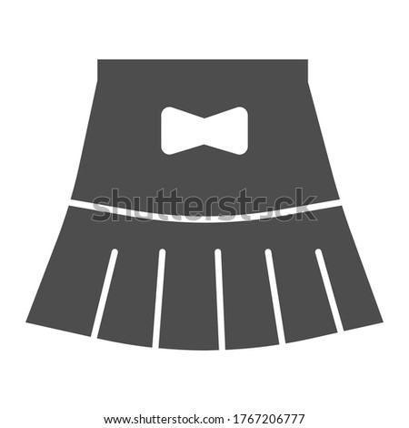 Miniskirt solid icon, Summer clothes concept, girl mini skirt sign on white background, short skirt with bow icon in glyph style for mobile concept and web design. Vector graphics.