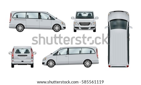 Minivan vector template. Isolated family car on white background. The ability to easily change the color. View from side, back, front and top. All elements in the groups on separate layers. Stock photo ©