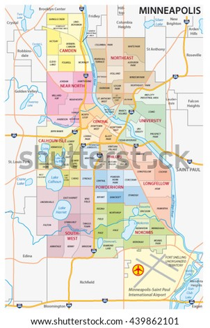 Minneapolis administrative political and road vector map