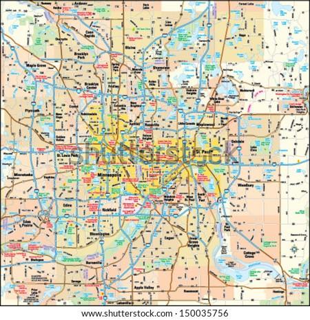 Minneapolis and St. Paul, Minnesota area map
