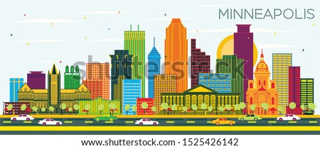 Minneapolis Minnesota USA City Skyline with Color Buildings and Blue Sky. Vector Illustration. Business Travel and Tourism Concept with Modern Architecture. Minneapolis Cityscape with Landmarks.