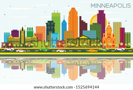 Minneapolis Minnesota USA City Skyline with Color Buildings, Blue Sky and Reflections. Vector Illustration. Travel and Tourism Concept with Modern Architecture. Minneapolis Cityscape with Landmarks.