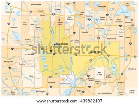 Minneapolis-Saint Paul road and administrative vector map