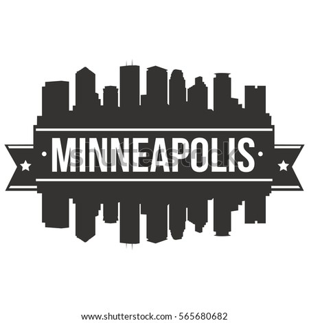 Minneapolis Skyline Stamp Silhouette City