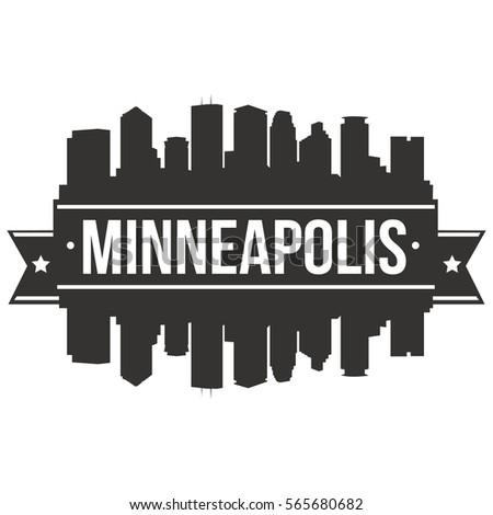 Minneapolis Skyline Stamp Silhouette City