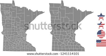 minnesota county map vector