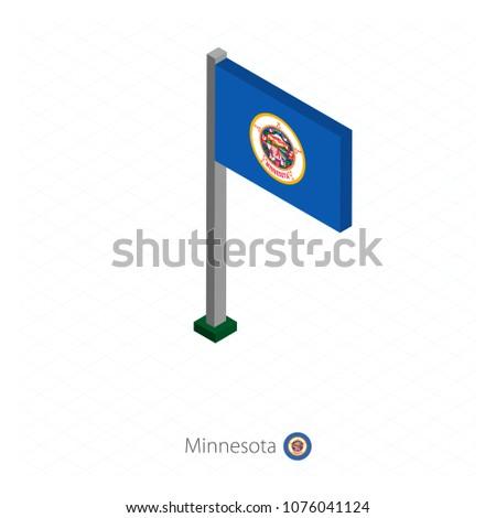minnesota us state flag on