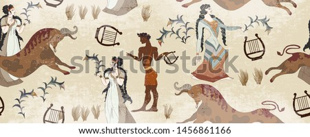 Minoan civilization seamless pattern. Ancient Greece frescos. Jumping bulls and goddesses. Ancient Crete culture. Heraklion. Knossos murals mythology