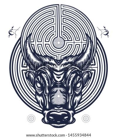 minotaur and labyrinth tattoo