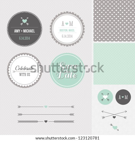Mint + Gray Save the Date Wedding Graphic Set #123120781