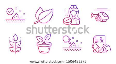 Mint leaves, Leaves and Gluten free line icons set. Medical helicopter, Nurse and Skin moisture signs. Skin care, Prescription drugs symbols. Mentha herbal, Grow plant. Healthcare set. Vector