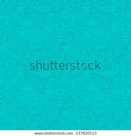 Mint Line Programming Seamless Pattern. Vector Illustration of Outline Tile Background. Coding Resources.